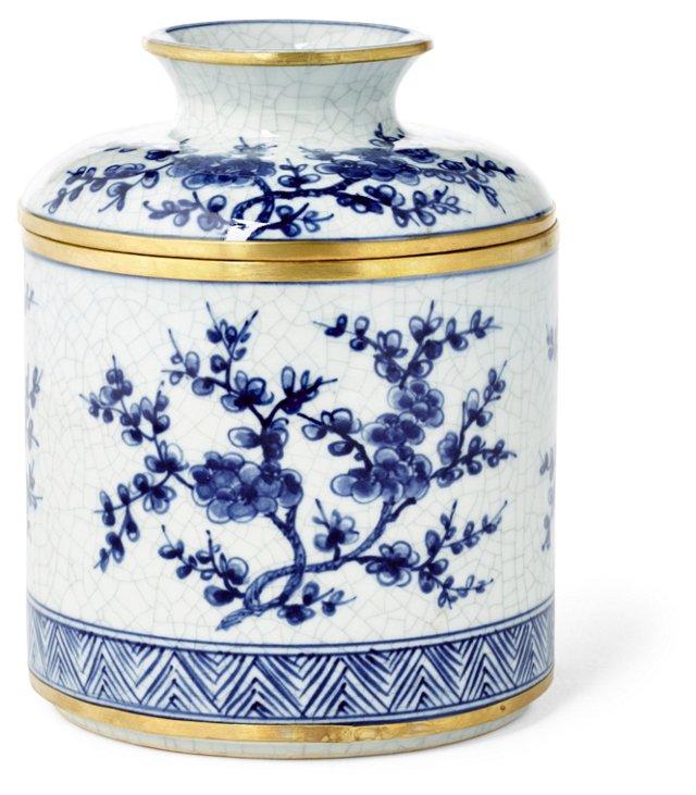 Blossom Tissue Box, Blue/White