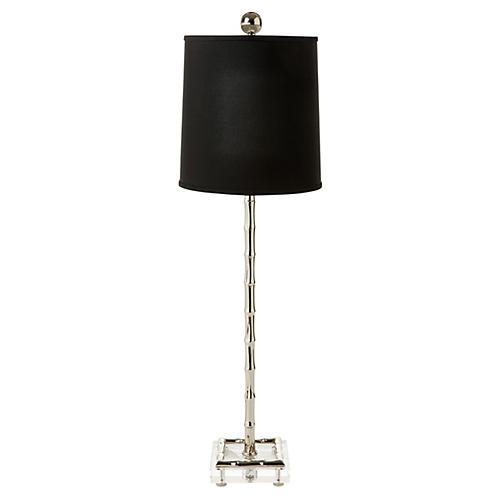 Minori Bamboo Table Lamp, Nickel