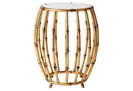 Belfast Drum Table, Antiqued Gold