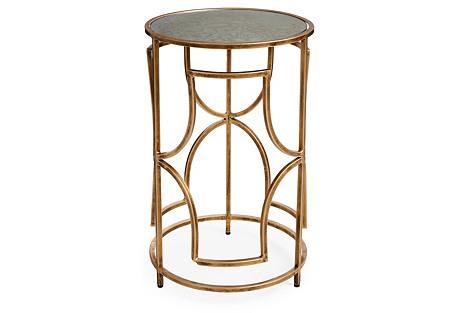 Nottingham Side Table, Antiqued Gold