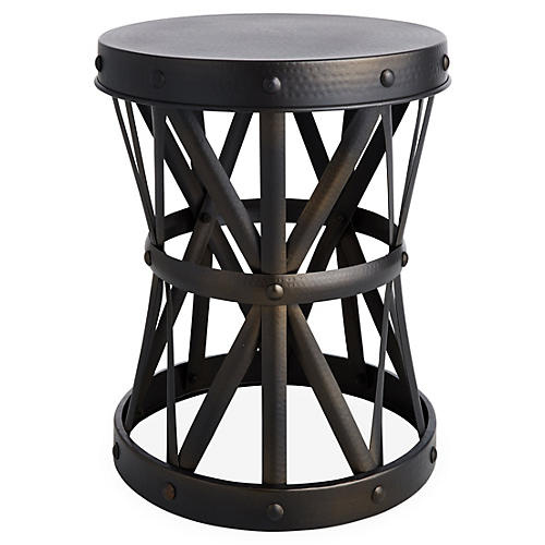 Thamesdown Hammered Side Table, Pewter