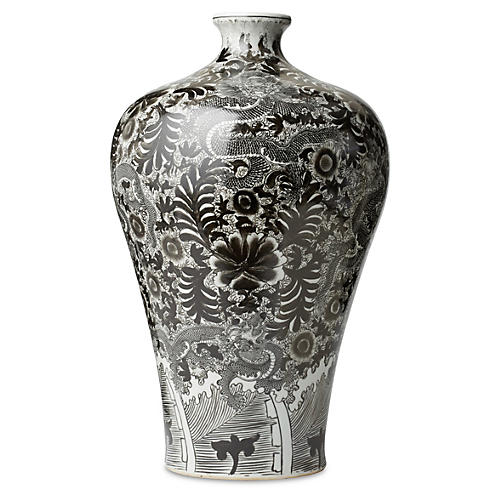 "22"" Dragon Vase, Black/White"