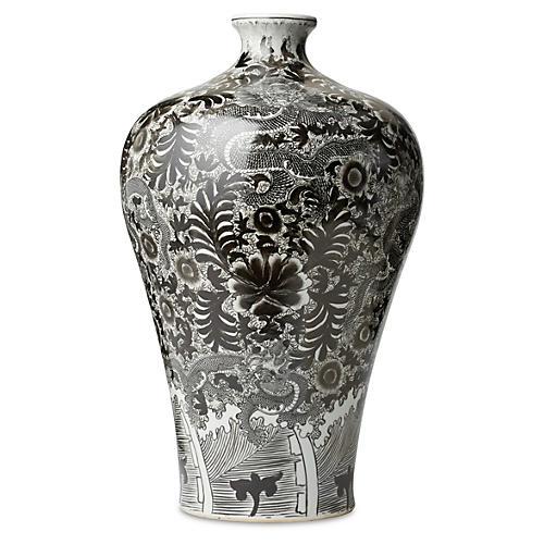 "22"" Dragon Vase, Black/White"