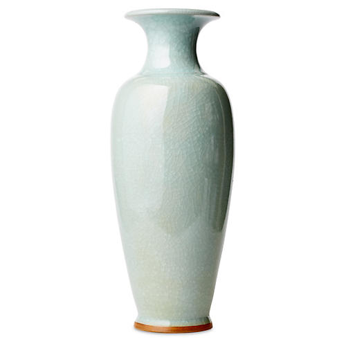 "20"" Crackle Vase, Celadon"