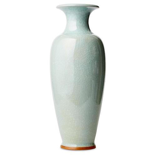 """20"""" Crackle Vase, Celadon"""