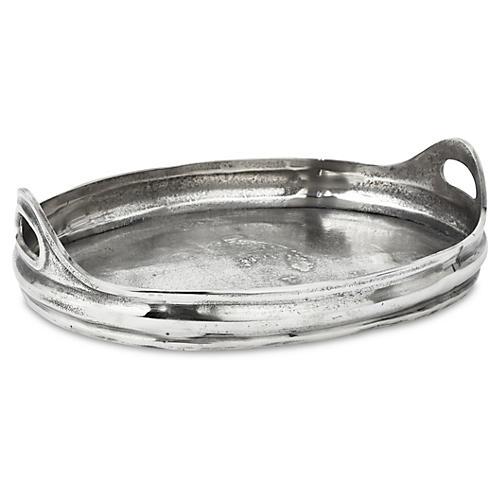"18"" Cast-Aluminum Tray, Silver"