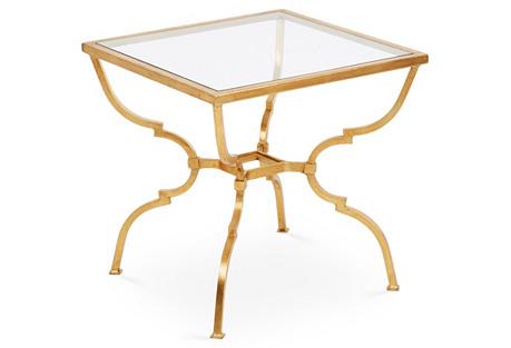 Quatrefoil Side Table, Antiqued Gold