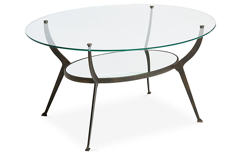 Audrey Oval Coffee Table, Bronze/Gold