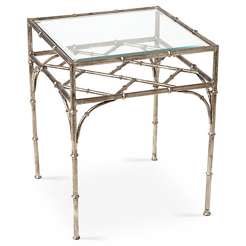 Woodmont Glass-Top Side Table, Silver