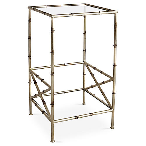 Kirklees Bamboo Side Table, Silver