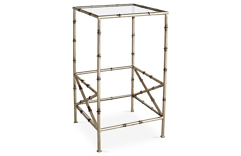 Kirklees Bamboo Side Table, Silver