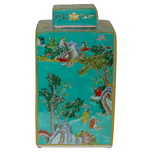 "13"" Christian Square Tea Jar, Teal/Multi"