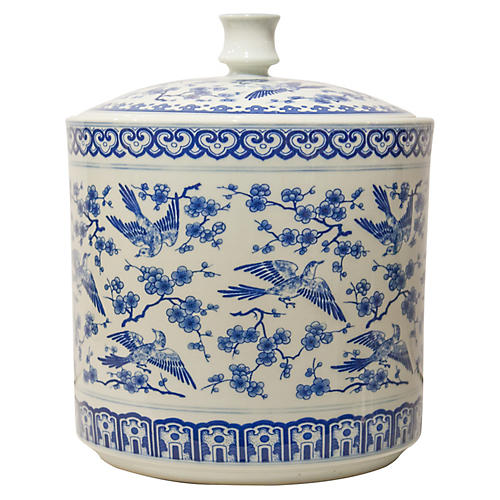 "12"" Colwin Jar, Blue/White"