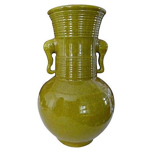 """14"""" Avram Elephant Vase, Olive Crackle"""