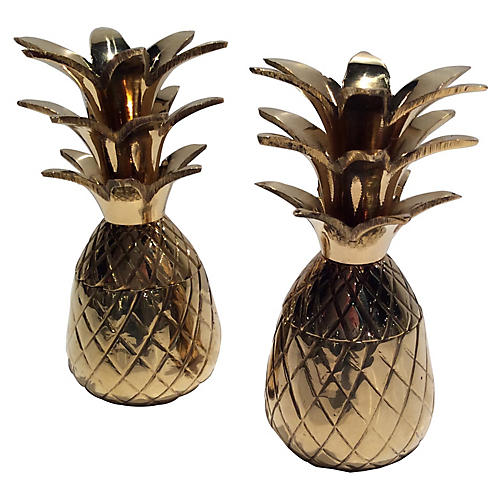 S/2 Clarence Pineapple Boxes, Brass