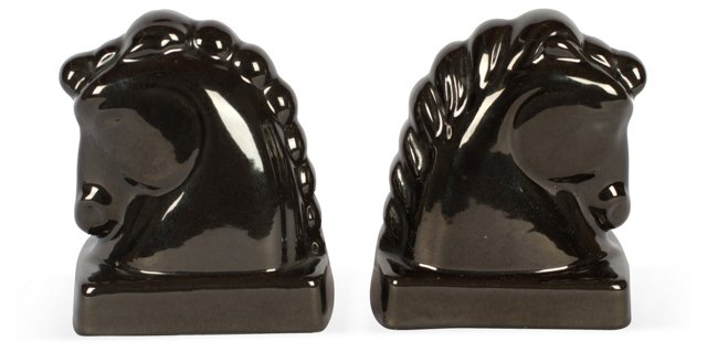 Black Horsehead Bookends, Pair