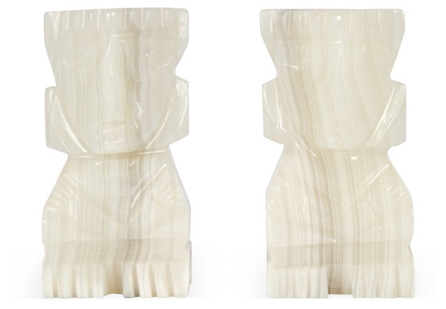 Alabaster Carved Bookends, Pair