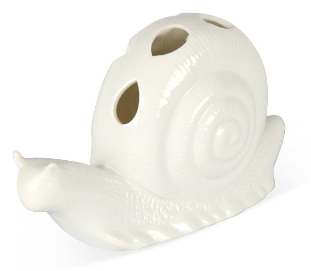 White Ceramic Snail