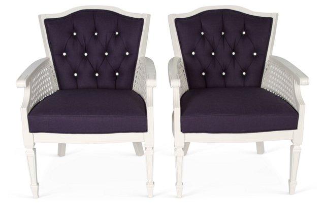Navy & White Regency Chairs, Pair