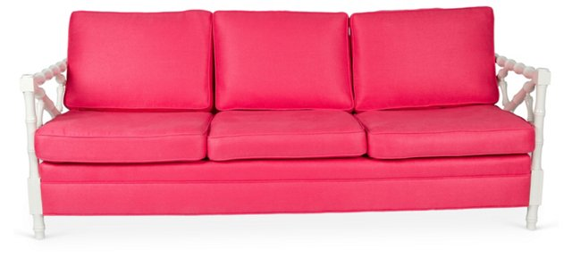Pink & White Faux-Bamboo Sofa