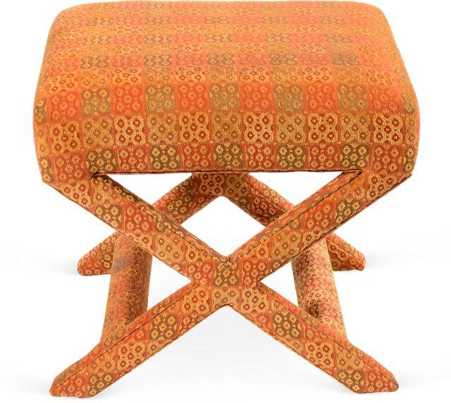 Orange Upholstered X Stool