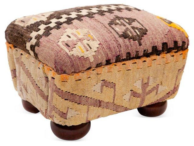 Wool-Upholstered Footstool
