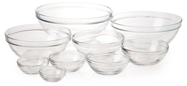 9-Pc Nesting Rimmed Bowl Set