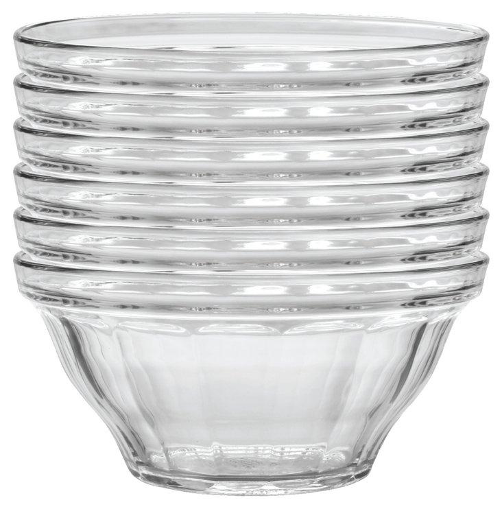 "S/6 Picardie Clear Bowls, 9"""