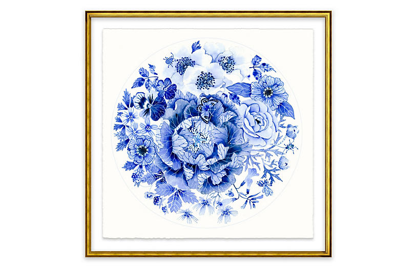 Gabby Malpas, Blue Round Floral I