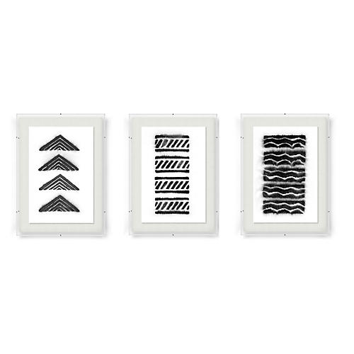 Adrienne Wong, Abstract Triptych-Black