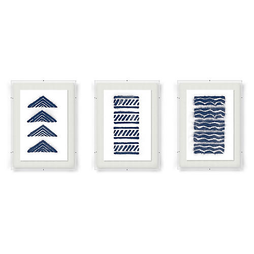 Adrienne Wong, Abstract Triptych-Indigo