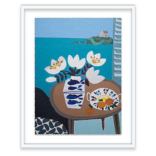 White Tulips in Fish Vase, Emma Williams