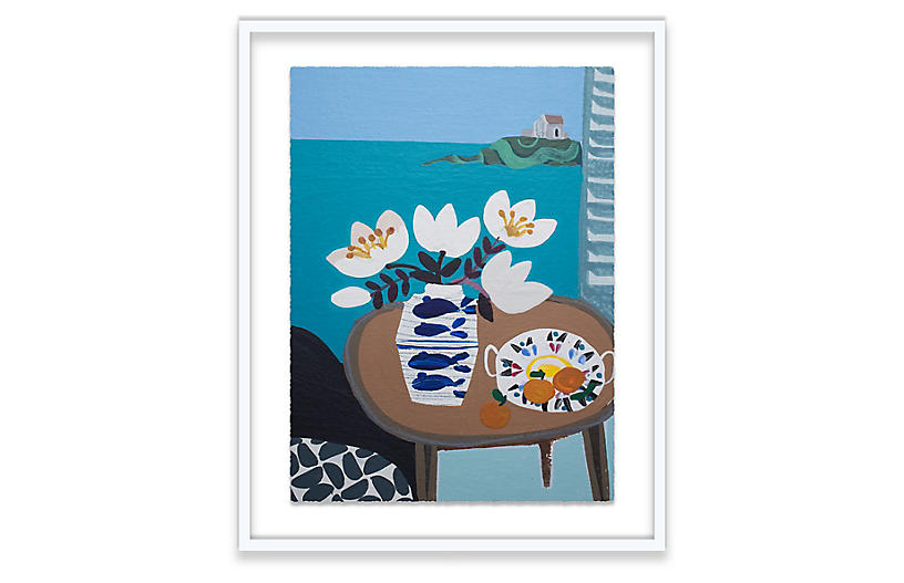 Emma Williams, White Tulips in Fish Vase