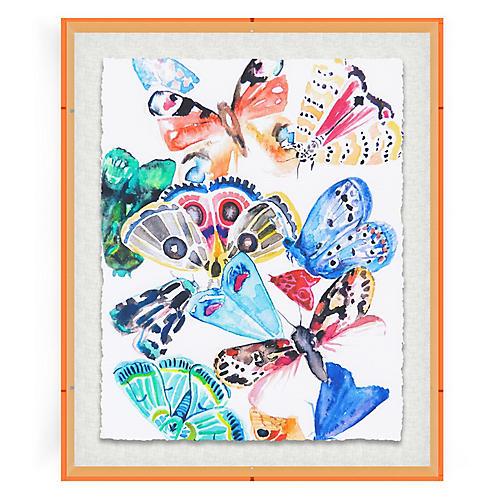 Butterflies I, Orange Acrylic Box