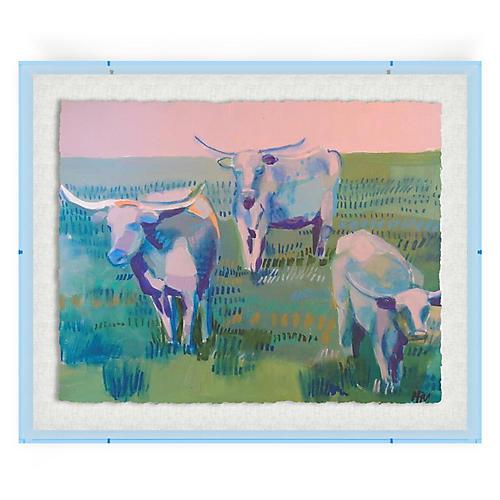 Longhorns, Blue Acrylic Box