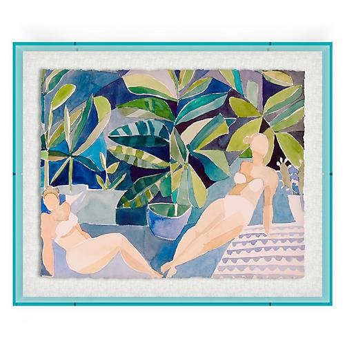 Bathers II, Blue Acrylic Box