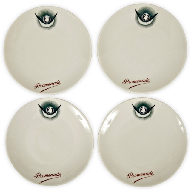 1940s French Promenade Plates, Set of 4