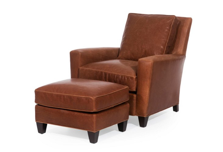 Tucker Leather Chair & Ottoman