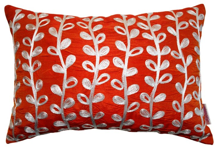 Sylvia 14x20 Embroidered Pillow, Red