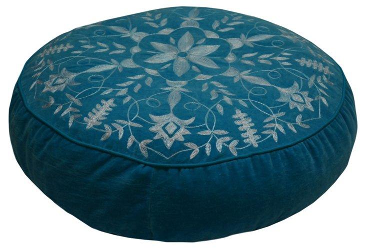 Floor Velvet Cushion, Blue/Gray