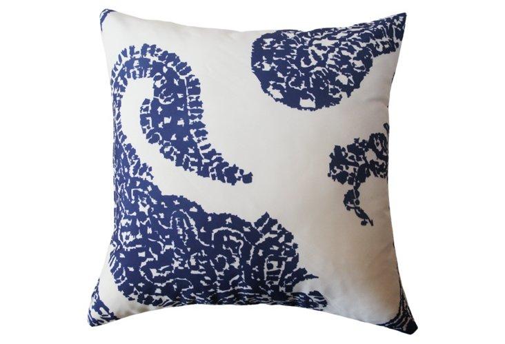 Paisley 20x20 Outdoor Pillow,  Blue