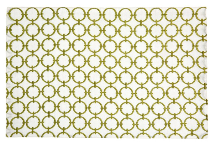 Geo Circles Place Mat, Lime Green