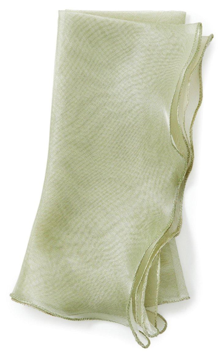 S/4 Wave Tissue Dinner Napkins, Green