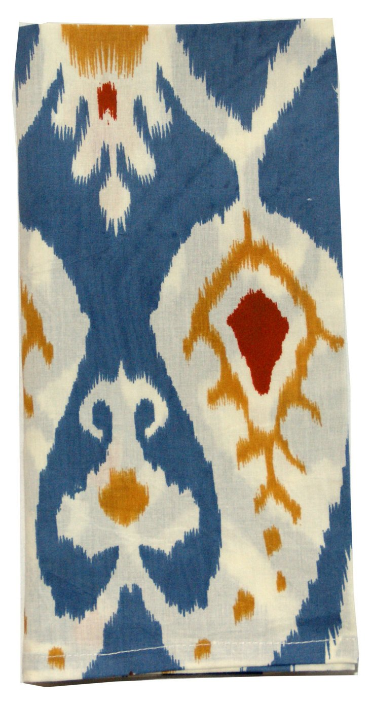 S/4 Ikat Dinner Napkins, Blue