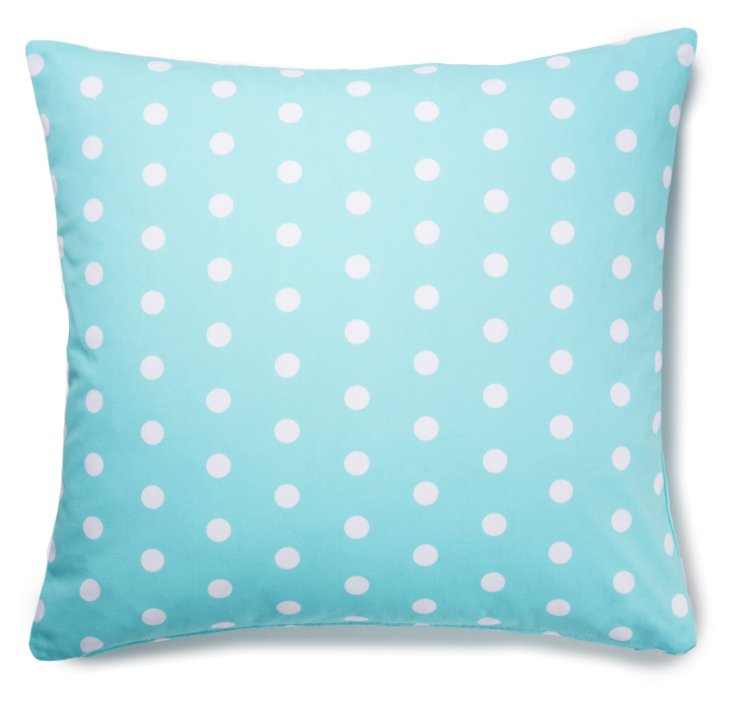 Polka Dot 20x20 Cotton Pillow, Aqua