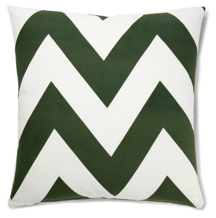 Chevron 20x20 Cotton Pillow, Green/White