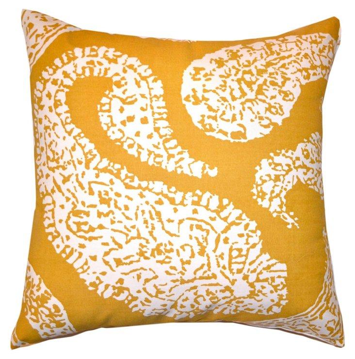 S/2 Paisley 20x20 Pillows, Mustard