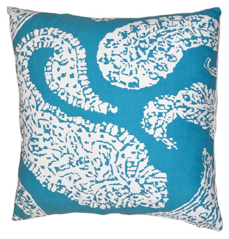 Paisley 20x20 Cotton Pillow, Aqua