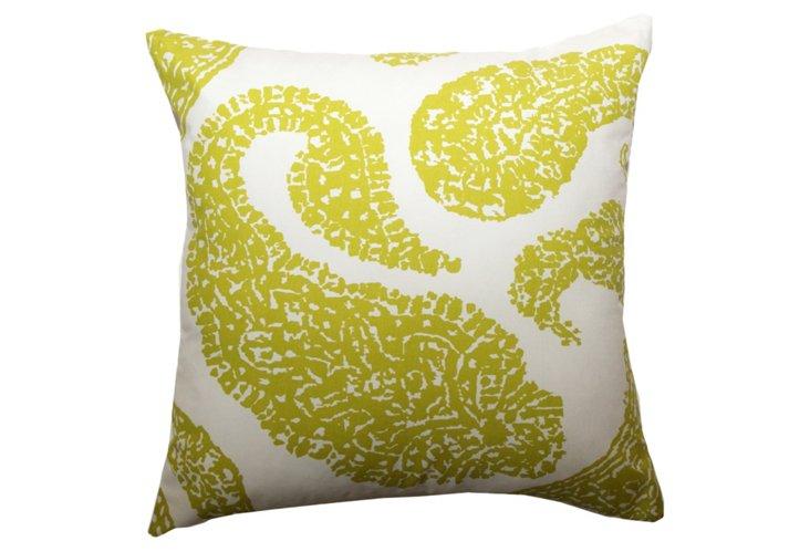 Set of 2 Paisley 20x20 Pillows, Lime