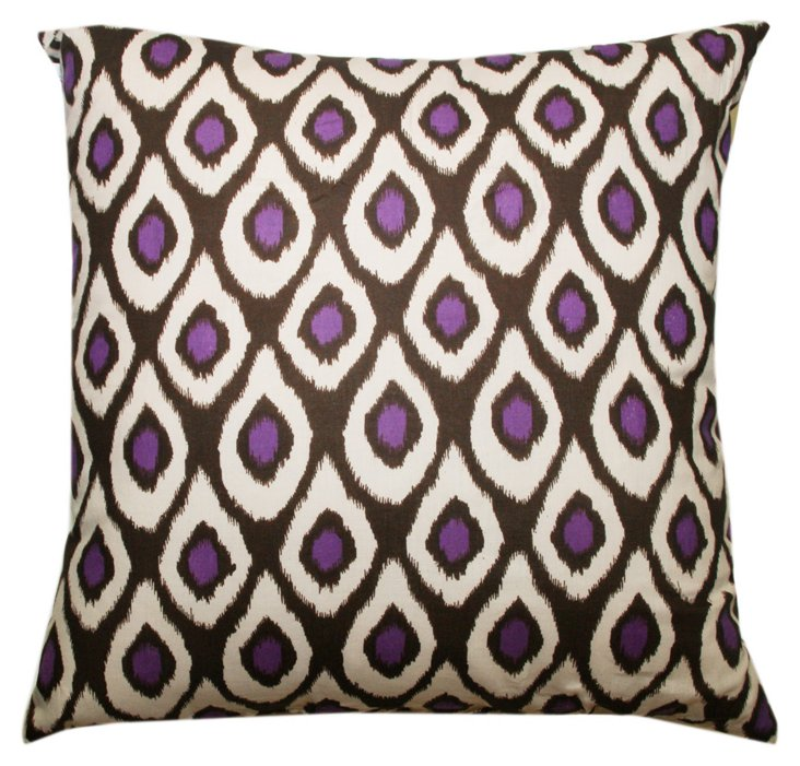 Drops 20x20 Cotton Pillow, Purple